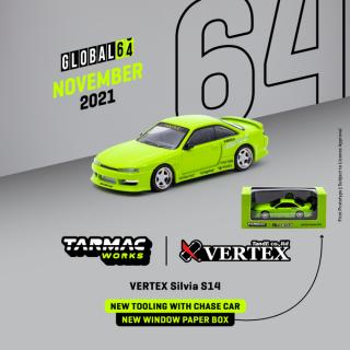 <img class='new_mark_img1' src='https://img.shop-pro.jp/img/new/icons1.gif' style='border:none;display:inline;margin:0px;padding:0px;width:auto;' />1月以降予約 Tarmac Works 1/64 VERTEX Silvia S14 Light Green(会員予約割引あり)