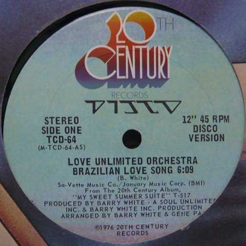 Love Unlimited Orchestra Brazilian Love Song 12 Inch Vinyl