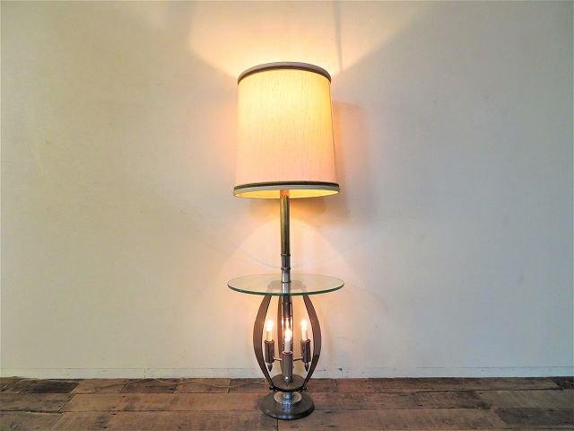 1960-70's ヴィンテージ ガラステーブル付き 4灯 フロアランプ