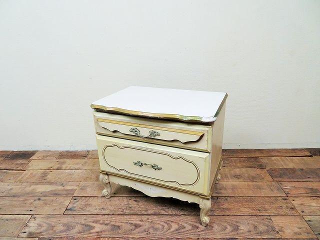 1960-70's ヴィンテージ デコラティブ ウッド ナイトテーブル