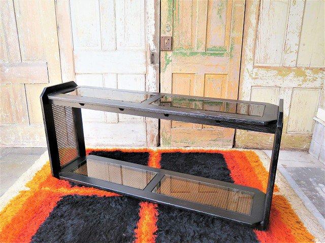 1970-80's ヴィンテージ ガラストップ ウッド コンソールテーブル