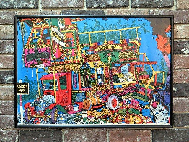 "1960's ヴィンテージ""Dr.MOTO'S Dope Show"" 額入りポスター"