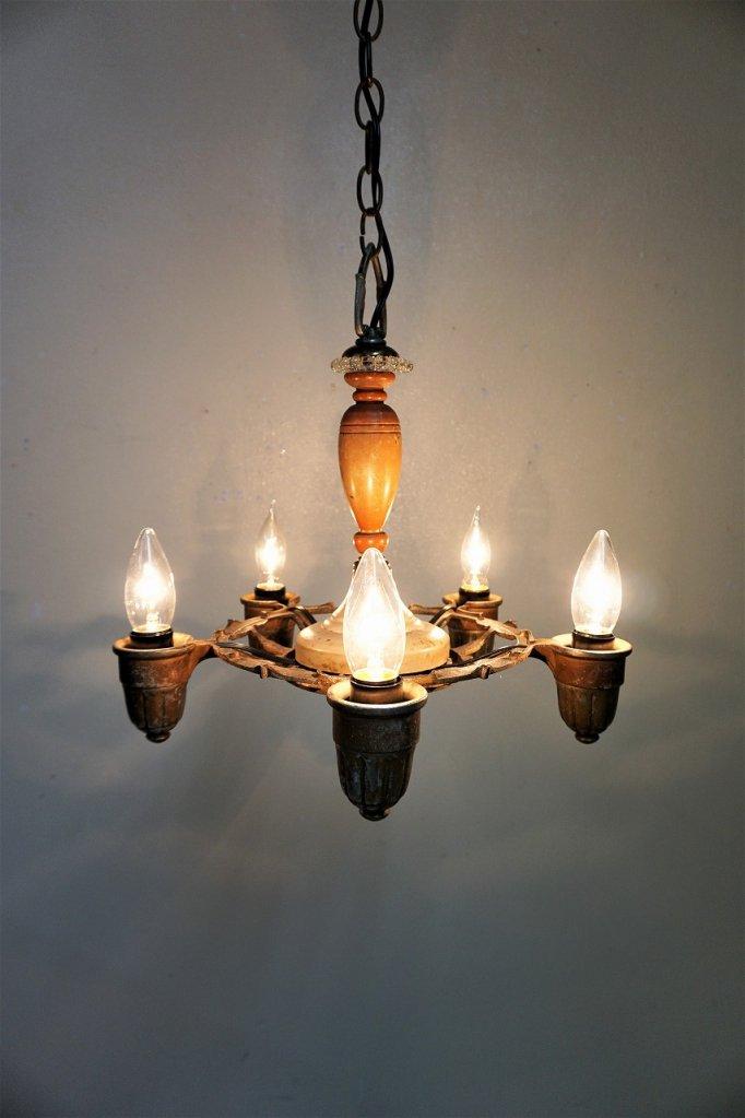 1920-40's アンティーク 5灯シャンデリア