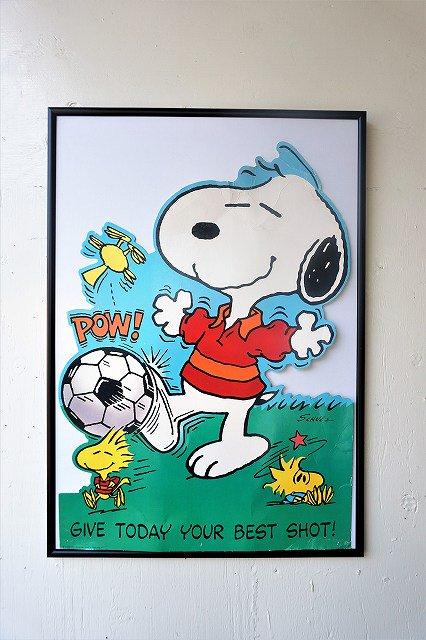 """1960's ヴィンテージ """"Peanuts-Snoopy"""" 額入りポスター"""