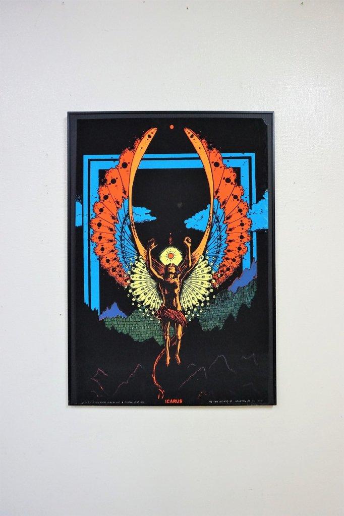 """1970's ヴィンテージ ブラックライトポスター""""ICARUS"""""""