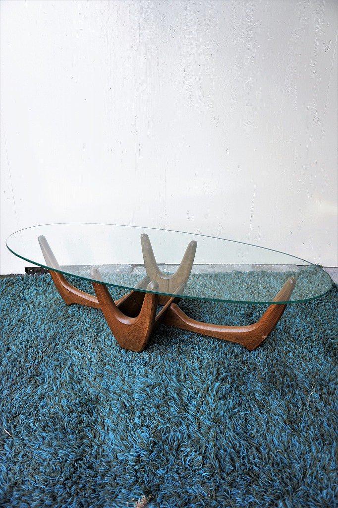 1950-60's ヴィンテージ ガラストップ ローテーブル ※近畿圏内のみの販売/店頭お引き取り販売