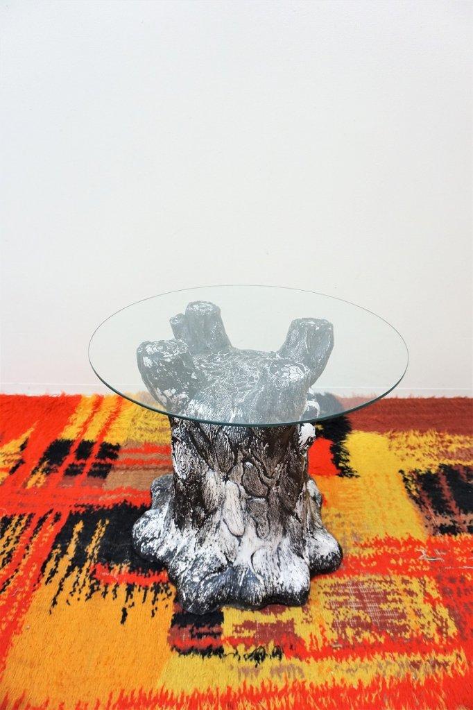 ヴィンテージ ウッドモチーフ ガラストップ サイドテーブル