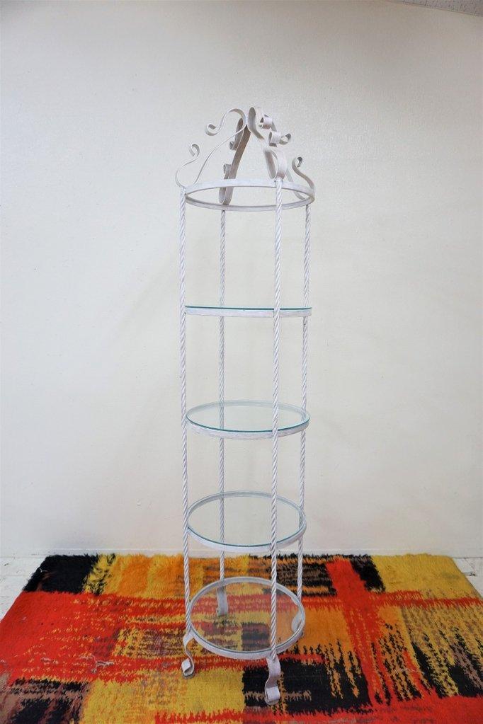 ヴィンテージ ガラストップ 4段 ツイストアイアン ラック