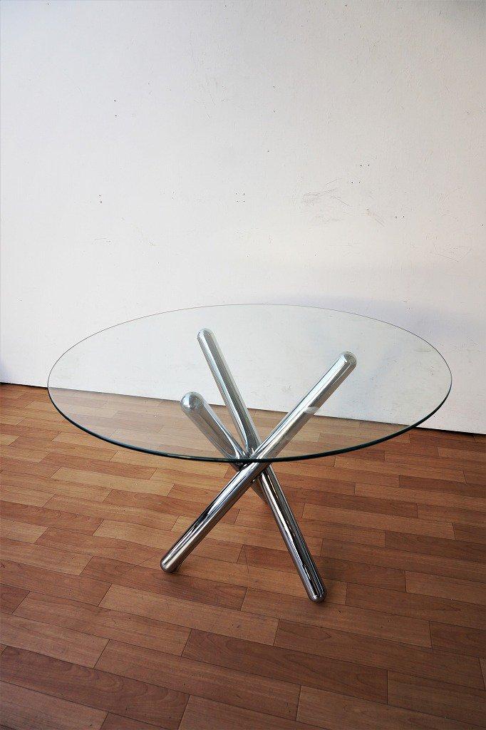 1970-80's クロームベース ガラステーブル