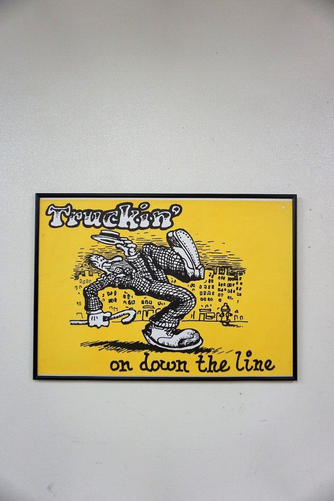 1970's ヴィンテージ Truckin' on down the line 額入りポスター