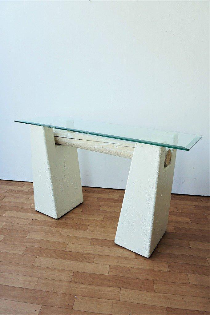 ヴィンテージ ガラストップ コンソール テーブル