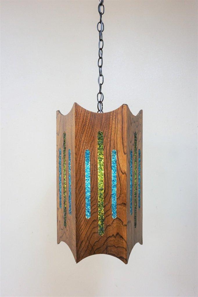 1960-70's ヴィンテージ ウッドフレーム アクリルペンダント ランプ
