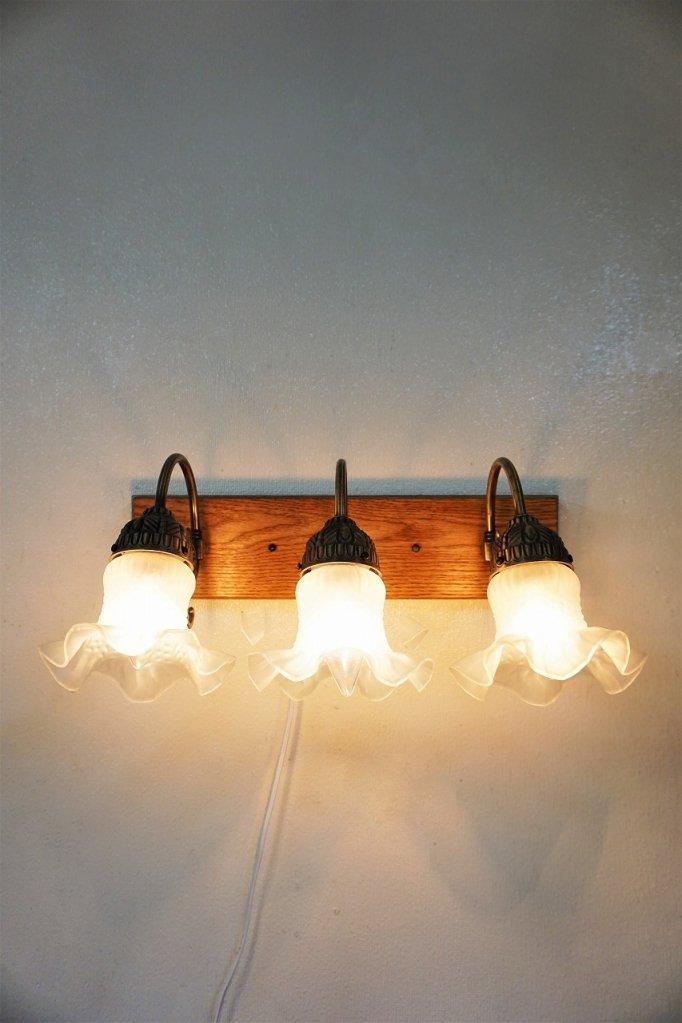 ヴィンテージ フラワーガラス 3灯 ブラケットランプ