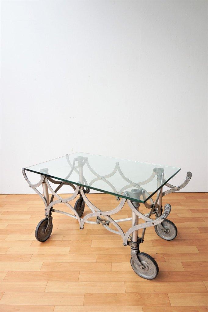 1900-20's ヴィンテージ エクステンションベース ガラストップ ローテーブル