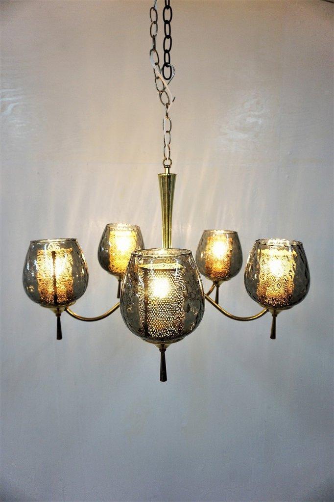 1960-70's ヴィンテージ 5灯 スモークガラス シャンデリア