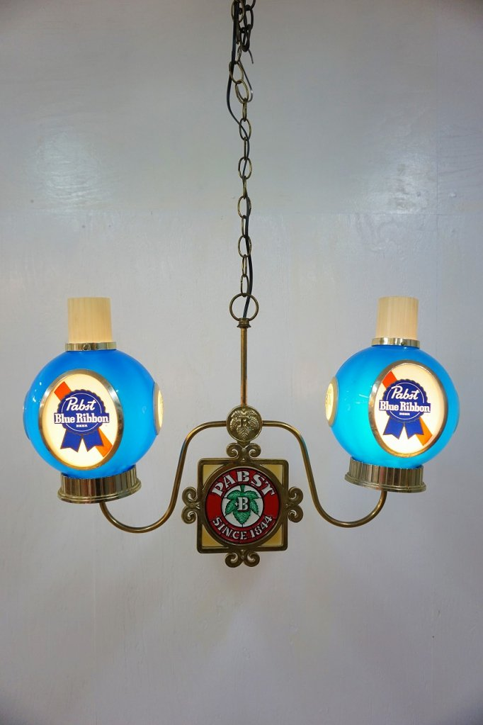 1960-70's ヴィンテージ Pabst Blue Ribbon アドバタイジング 2灯ペンダントランプ
