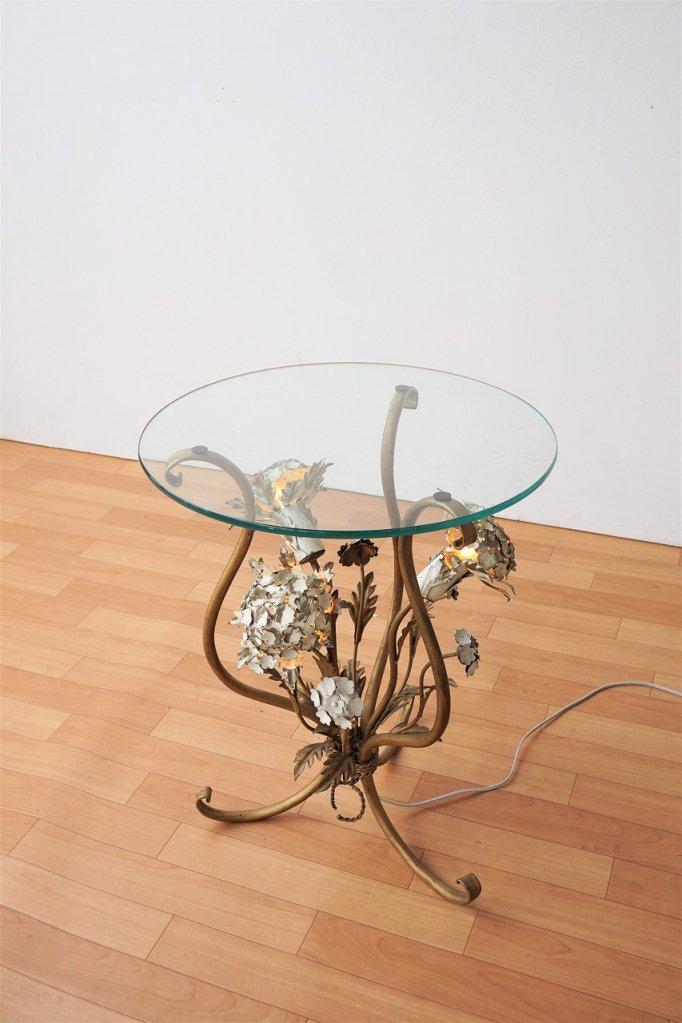 1960-70's ヴィンテージ ライト付き ガラスサイドテーブル