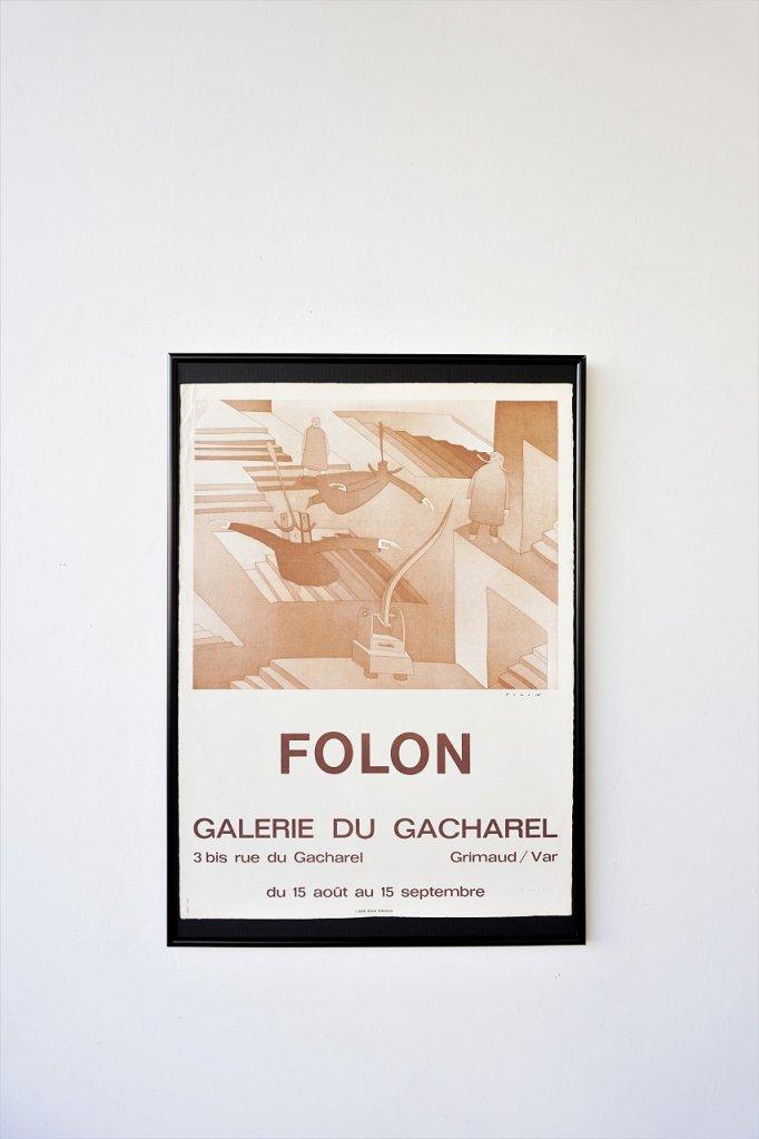 1970's ヴィンテージ Jean Michel folon 額入りポスター