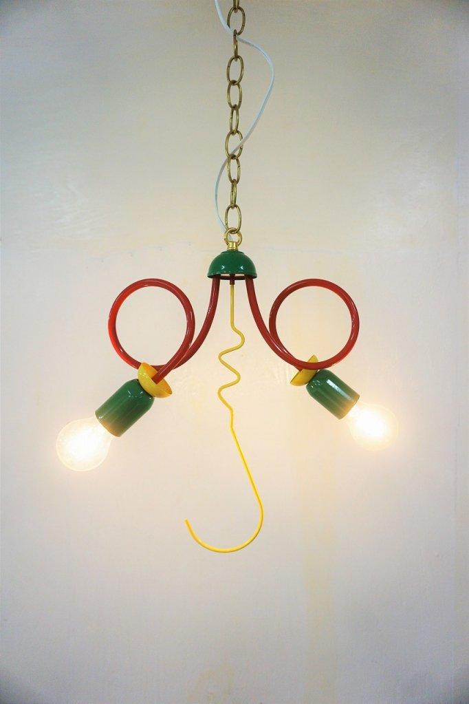 1980's MEMPHIS デザイン 2灯ペンダントランプ