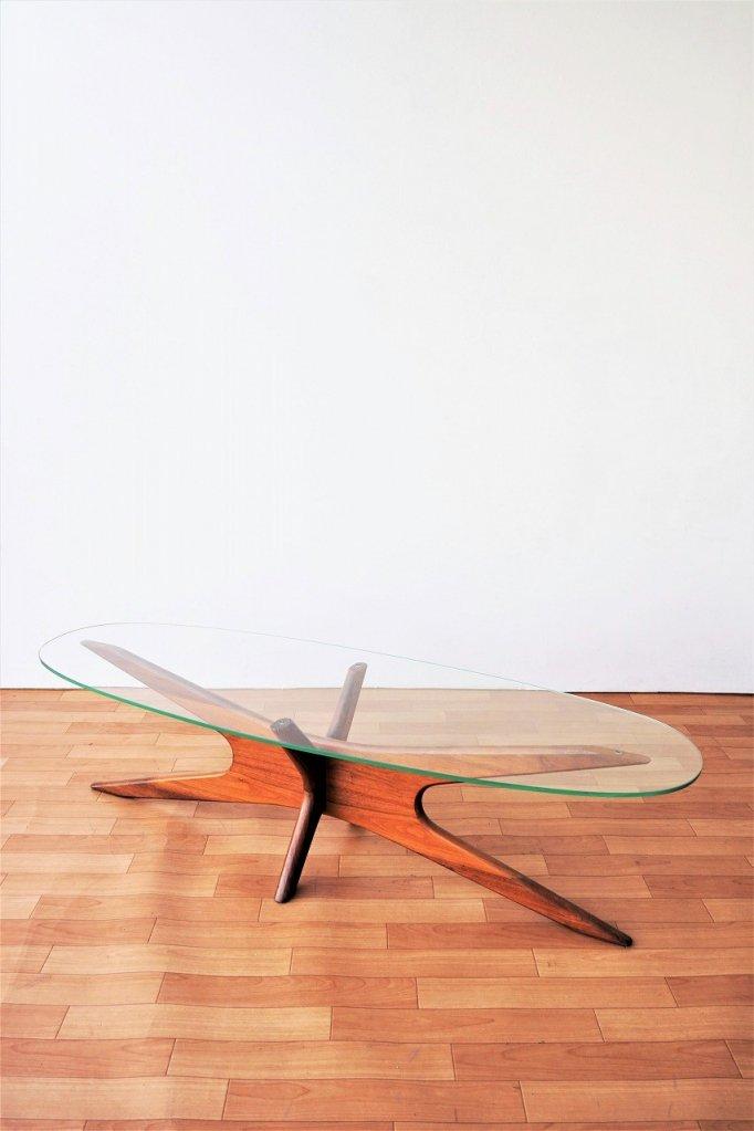 1950-60's ヴィンテージ ミッドセンチュリー ガラストップ ローテーブル