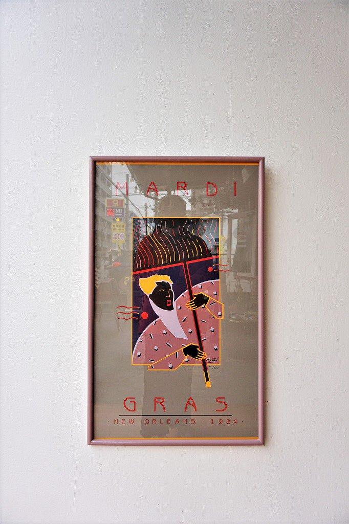 1980's Mardi Gras 額入り ポスター
