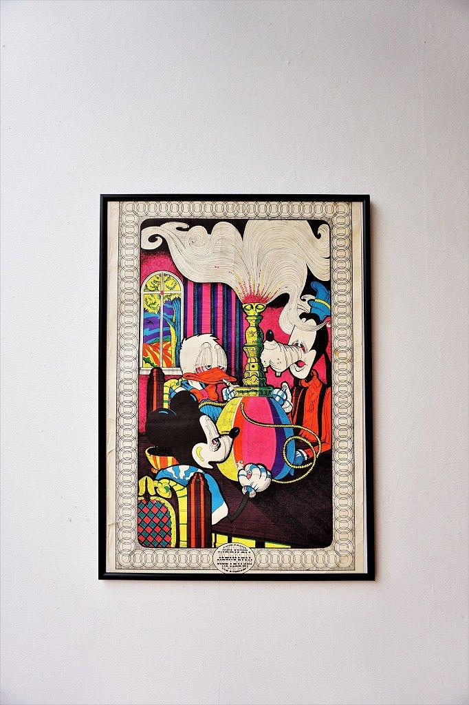 1970's DISNEY パロディ ブラックライト 額入りポスター