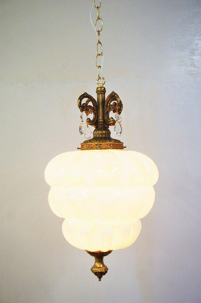1960-70's ヴィンテージ ホワイトガラス ペンダントランプ
