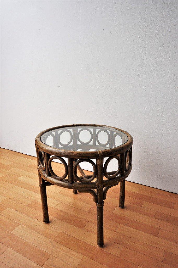 1970-80's ヴィンテージ ラタン ガラスサイドテーブル