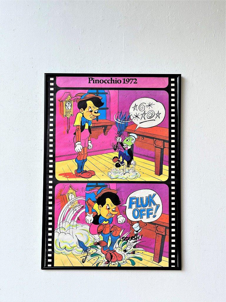 1970's ヴィンテージ Pinocchio 額入りポスター