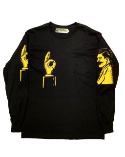 """""""Service with a Smile""""L/S POCKET TEE(BLACK)"""