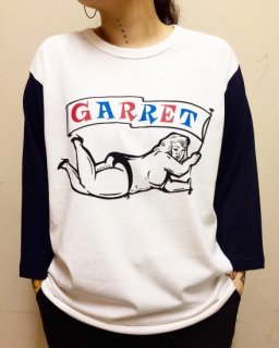 """GARRET FAT""3/4 SLEEVE TEE(WHITE×NAVY)"