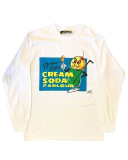 """CREAM SODA PARLOUR""L/S TEE(WHITE)"