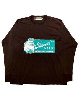 """""""NERVOUS CAFE""""L/S TEE(BLACK)"""