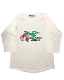 """BADNEWS AGAIN""3/4 SLEEVE TEE(WHITE)"