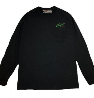 """""""NERVOUS CAFE""""embroidery L/S TEE(BLACK)"""
