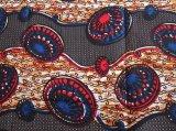 アフリカンワックスプリント 黒、ベージュ、赤、青 / African wax print