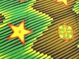 キテンゲ アフリカンプリント 緑、黒、黄