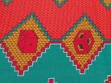 キテンゲ アフリカンプリント 赤、青緑、橙