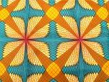 アフリカンワックスプリント・ポリエステル素材 (水色、黄土、ベージュ) / African wax print