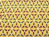 アフリカンワックスプリント・ポリエステル素材 (橙、えんじ、黒) / African wax print