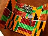本革 アフリカ布 レザーキーケース