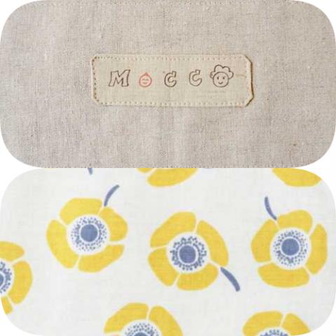 """夏向き、でも年中使える<br>Linen anemone 1号 yellow <br>新機能!紐にベビーの足にやさしい""""わたふわサポート""""がつきました。"""