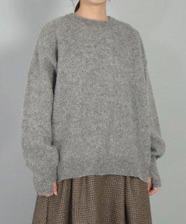 [ OMNIGOD womens / オムニゴッド ]<br />シェットランド起毛 ワイドクルーネックセーター