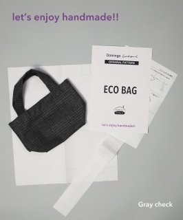 Hand made ECO BAG <生地+パターン> / Gray check