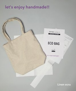 Hand made ECO BAG <生地+パターン> / Linen ecru