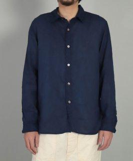 [ OMNIGOD mens / オムニゴッド ]<br />リネンキャンバス手染めインディゴ レギュラーカラーワークシャツ