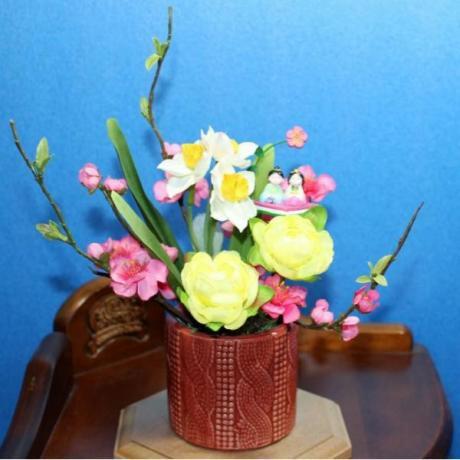 春-018 桃と水仙