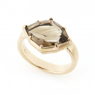 Cut Down Ring Smoky Quartz / 1707-003