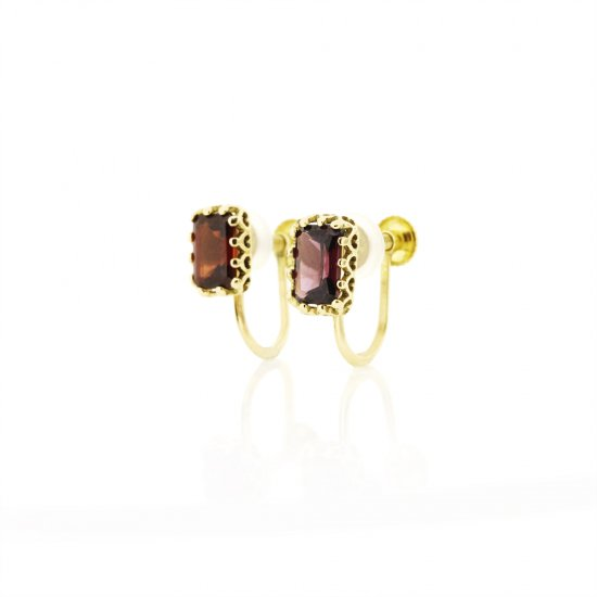 float earring Garnet K18YG / 1904-023