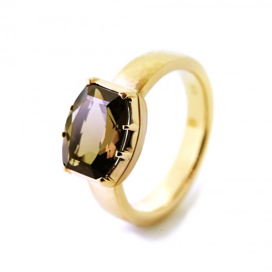 Cut Down Ring Smoky Quartz / 1912-021